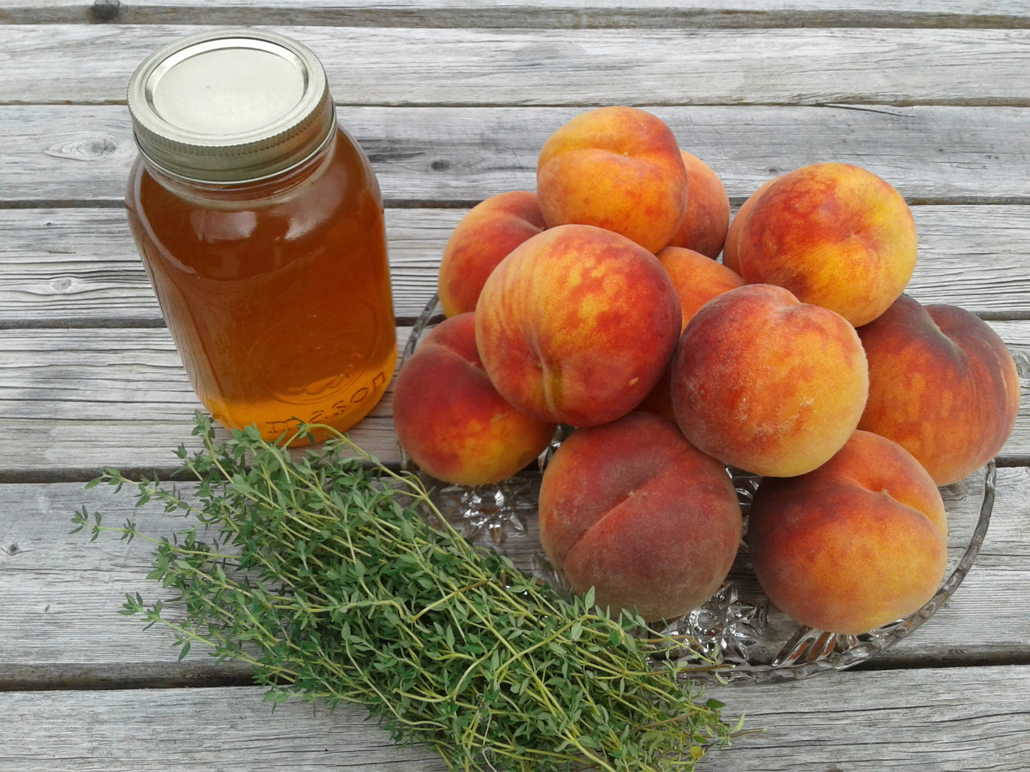 Broiled Glohaven Peaches With Thymed Honey