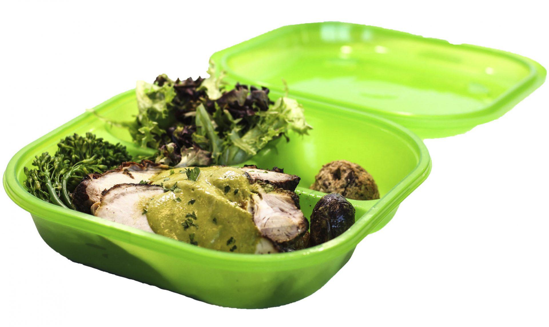 Mojo Pork Loin With Roasted Potatoes And Chili Glazed Broccolini